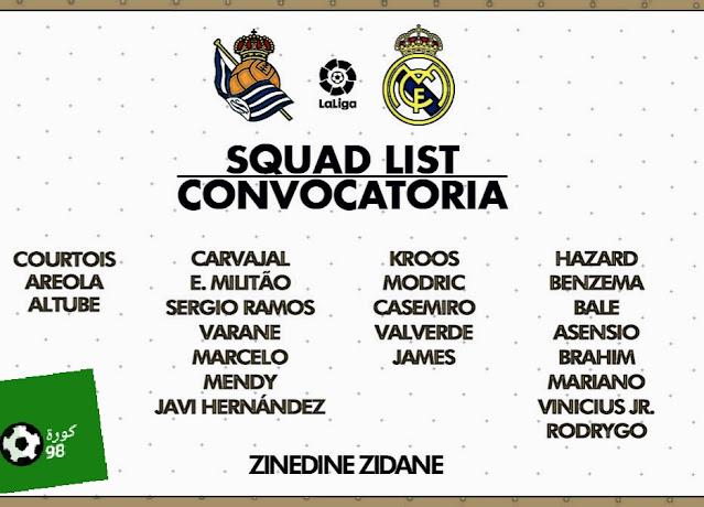 قائمة ريال مدريد لمواجهة سوسييداد