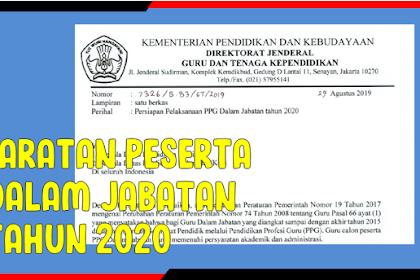 Persyaratan Peserta PPG Dalam Jabatan Tahun 2020