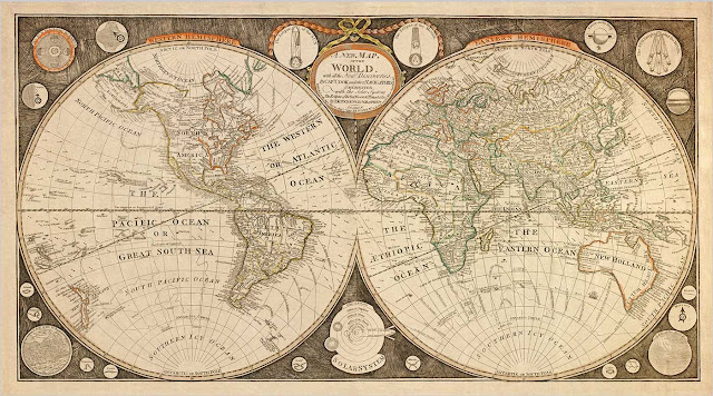 Captain Cook Vintage World Map