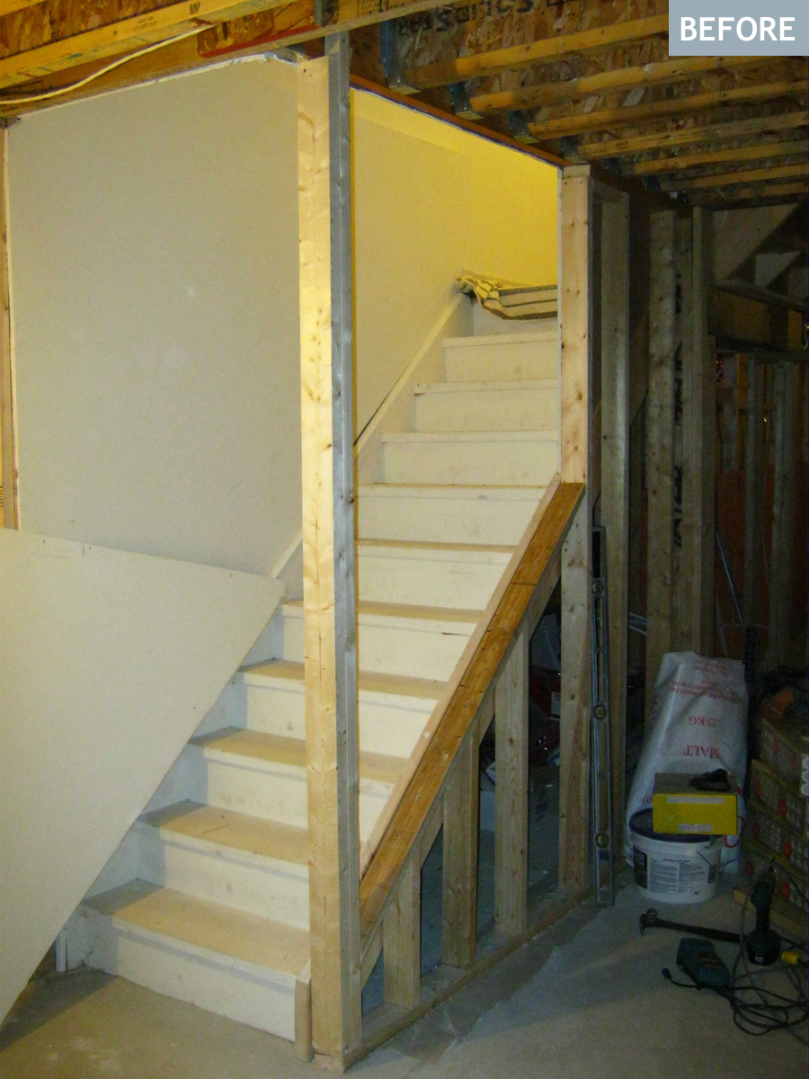 Steep Basement Stairs Remodel