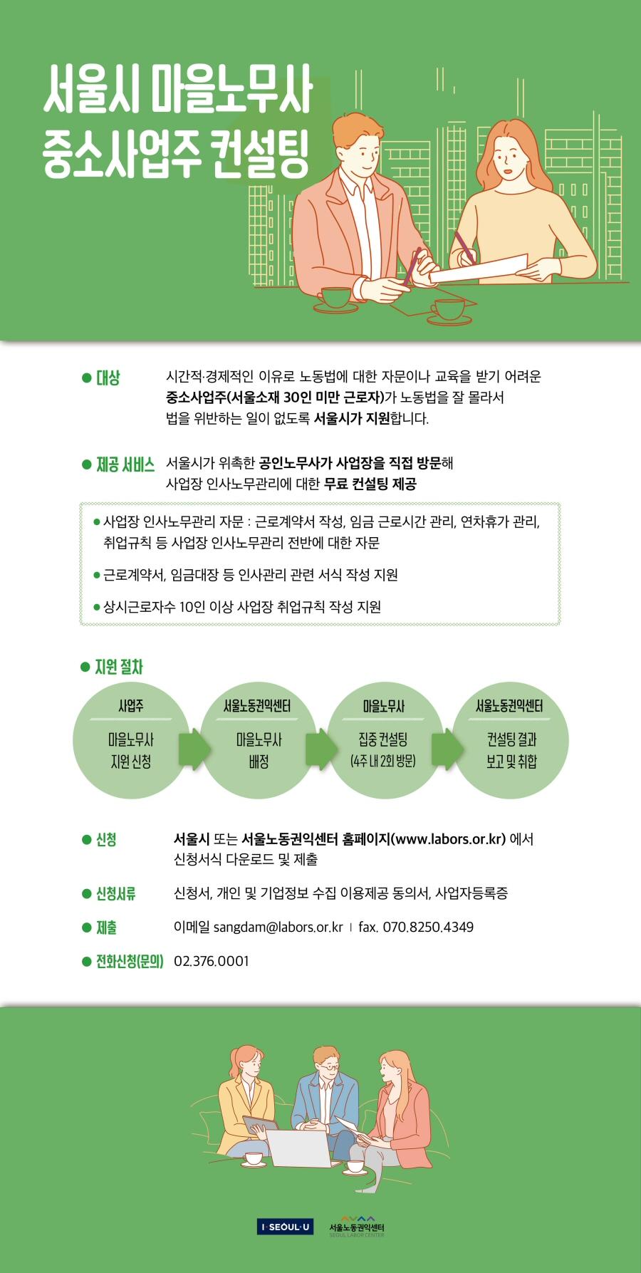 서울시, 30인 미만 사업장 '마을노무사' 무료 컨설팅