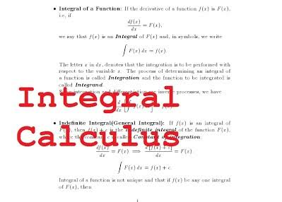 INTERGRAL CALCULUS HAND WRITTEN NOTE BY DIPS ACADEMY