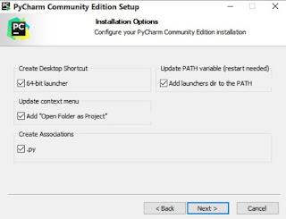 Pycharm community installation options