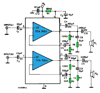 schematic power amplifier with TDA2004
