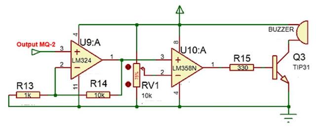 Implementasi sensor Gas MQ-2 dengan sistem kendali analog