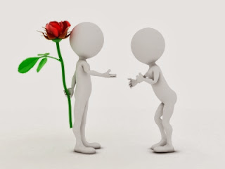 Offering a rose to the other person