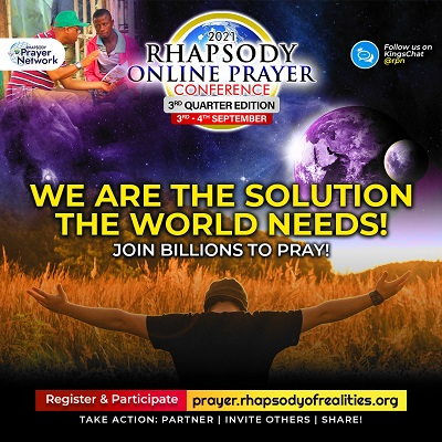 Join the Rhapsody online prayer conference for September 2021