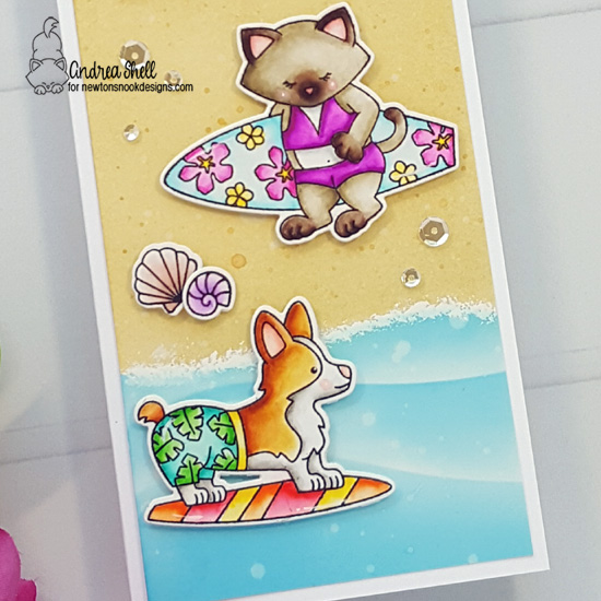 Happy Surf Day Card by Andrea Shell | Newton's Perfect Wave & Corgi Beach Stamp Sets and Hills &Grass and Clouds Stencils by Newton's Nook Designs #newtonsnook #handmade