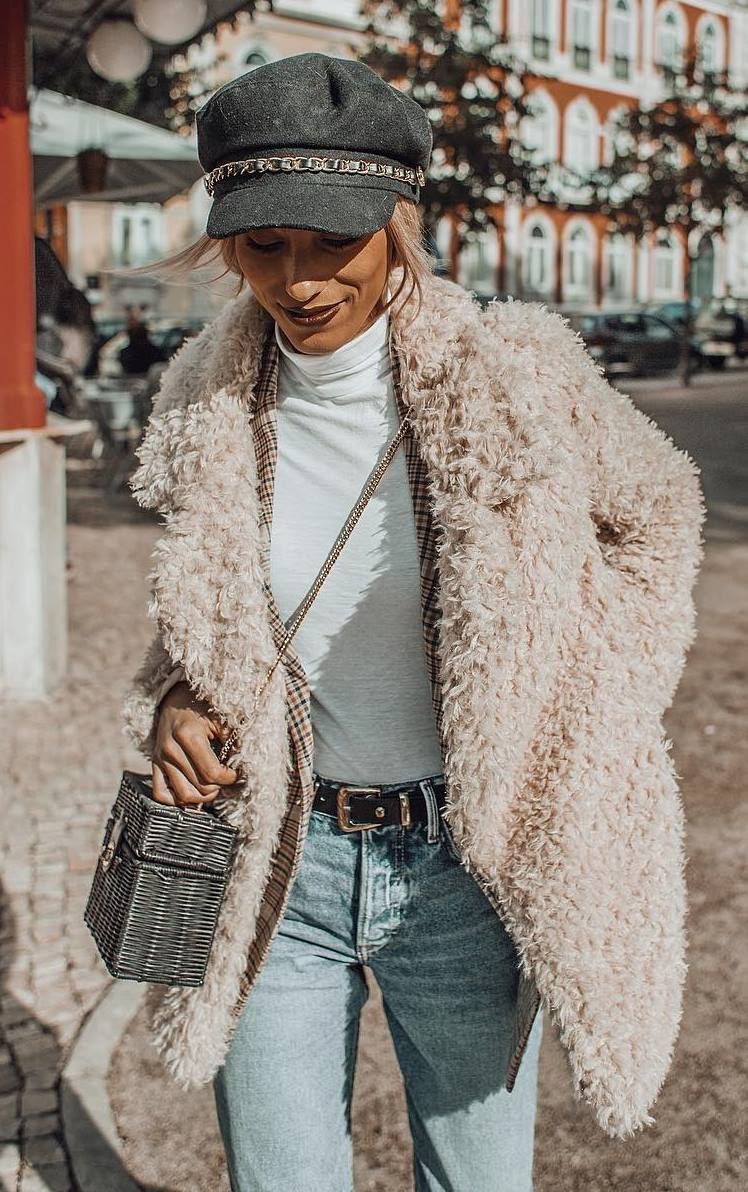 trendy outfit idea to wear right now / fur coat + hat + top + plaid blazer + bag + jeans
