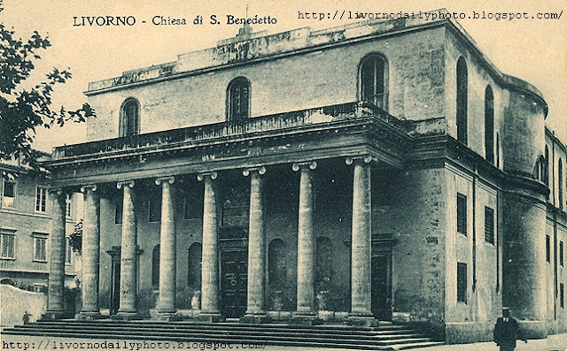 Old postcard, church of San Benedetto, Piazza XX Settembre, Livorno