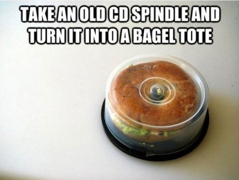 Turn your CD Spindle into a Bagel Tote