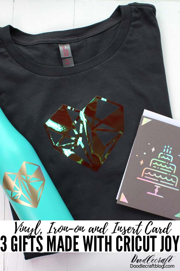 Make an iron-on vinyl shirt, and custom waterbottle and a shimmery insert card in just a few minutes for the perfect birthday gift using the Cricut Joy cutting machine.