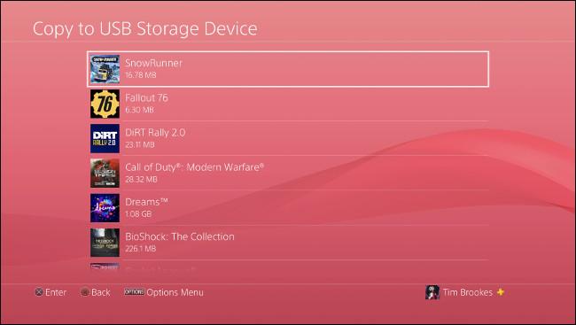 """قائمة """"نسخ إلى جهاز تخزين USB"""" على PS4."""