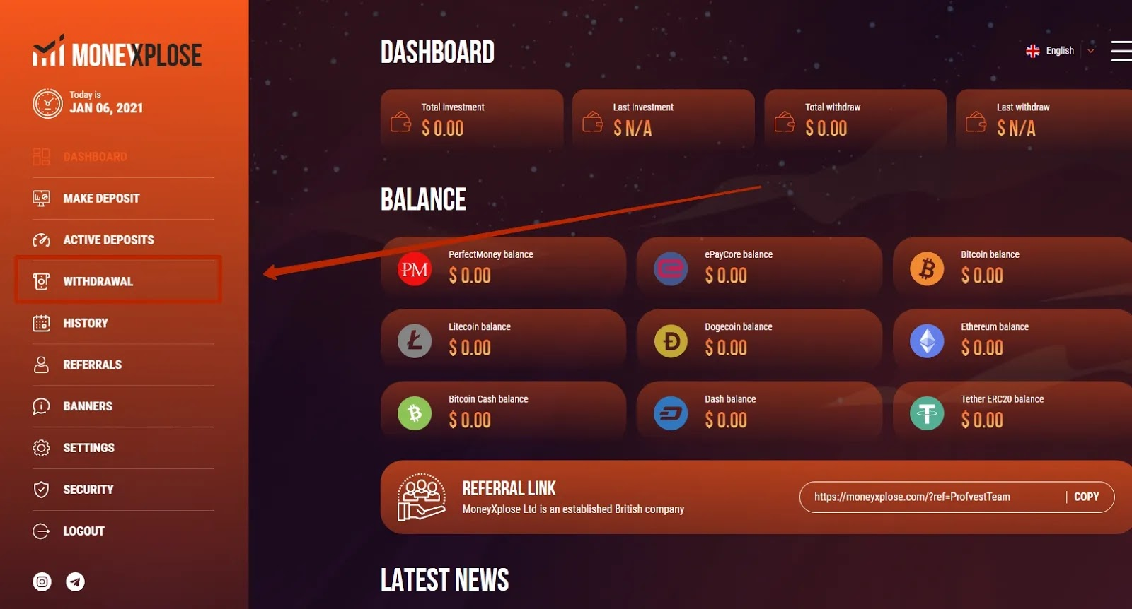 Вывод средств в MoneyXplose