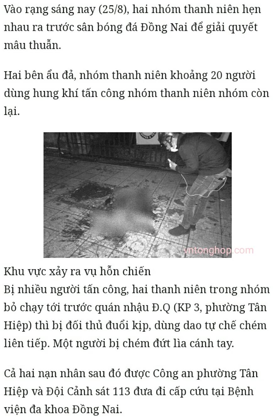 Đồng Nai: Một nam thanh niên bị chém đứt lìa cả hai tay
