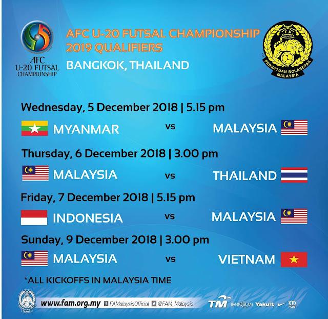 Jadual Perlawanan Kelayakan Kejuaraan Futsal B-20 AFC 2019