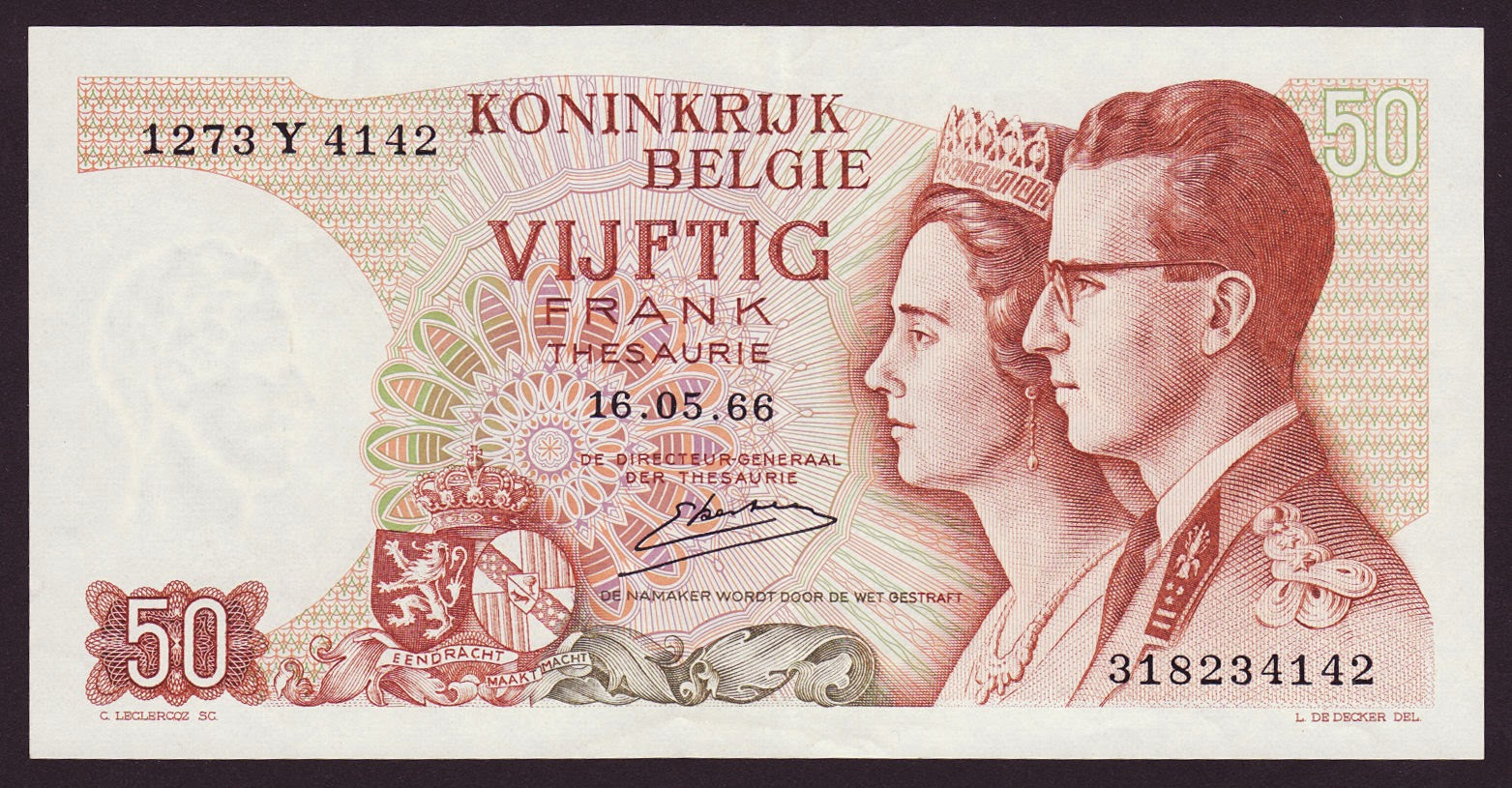 Belgium Banknotes 50 Francs Treasury Note 1966 King Baudouin and Queen Fabiola