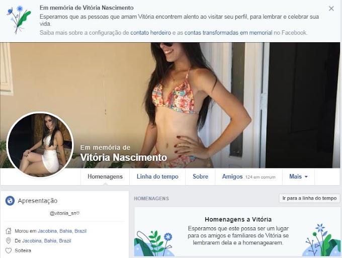Facebook transforma perfil da modelo Vitória Nascimento em memorial, para homenagens