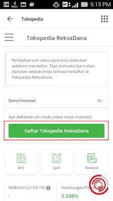 Selanjutnya pilih Daftar Tokopedia ReksaDana untuk mendaftar Reksa Dana dari Tokopedia