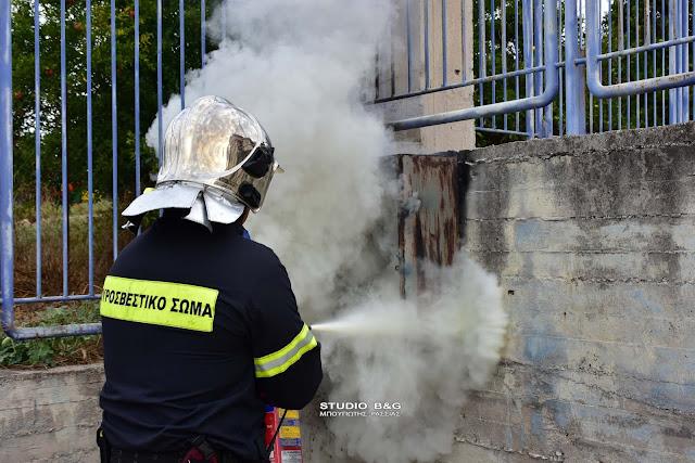 Πυρκαγιά σε ρολόι της ΔΕΗ στο Ειδικό Επαγγελματικό Γυμνάσιο Λύκειο Αργολίδας (βίντεο)