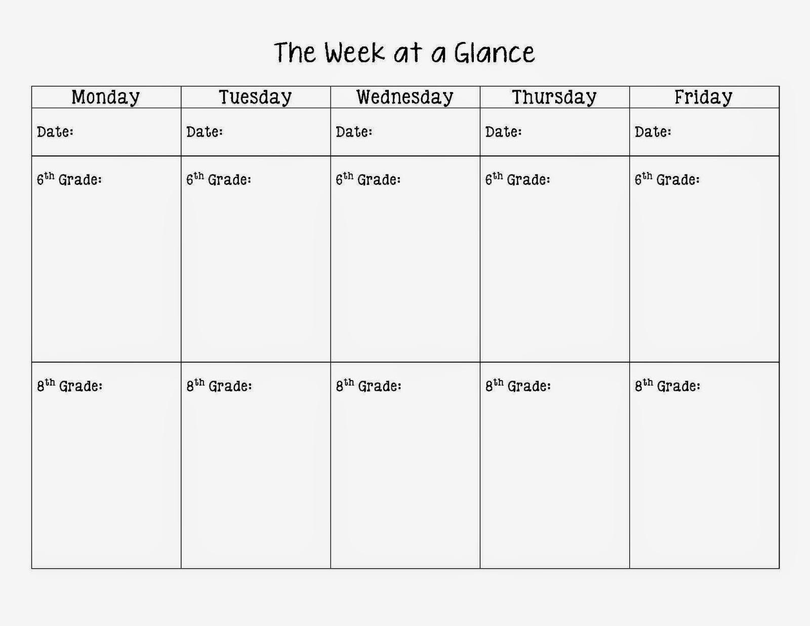 Middle school teacher to literacy coach literacy and math for Week at a glance lesson plan template