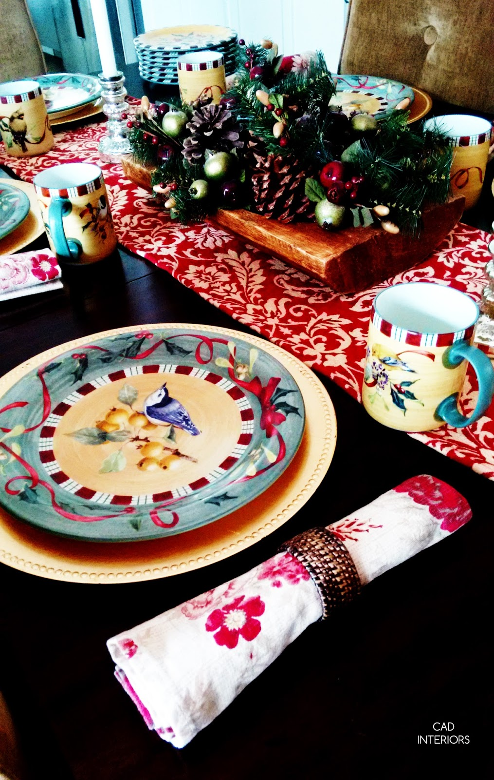 Christmas holiday decorating traditional classic interior decorating gold chargers red green plaid birds country tableware holiday dishes table setting