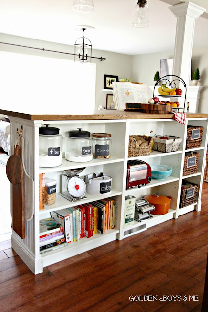 IKEA Hacks Billy Bookcase Bookshelf Bookshelves Shelves Furniture Pine Wood White Shelf Unit Kitchen Island