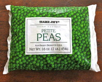 A bag of frozen peas from Trader Joe's