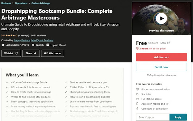 [100% Off] Dropshipping Bootcamp Bundle: Complete Arbitrage Mastercours| Worth 139,99$
