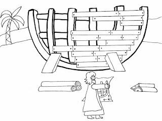 דף צביעה של נוח והתיבה
