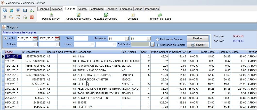 Módulo de compras en el software de facturación