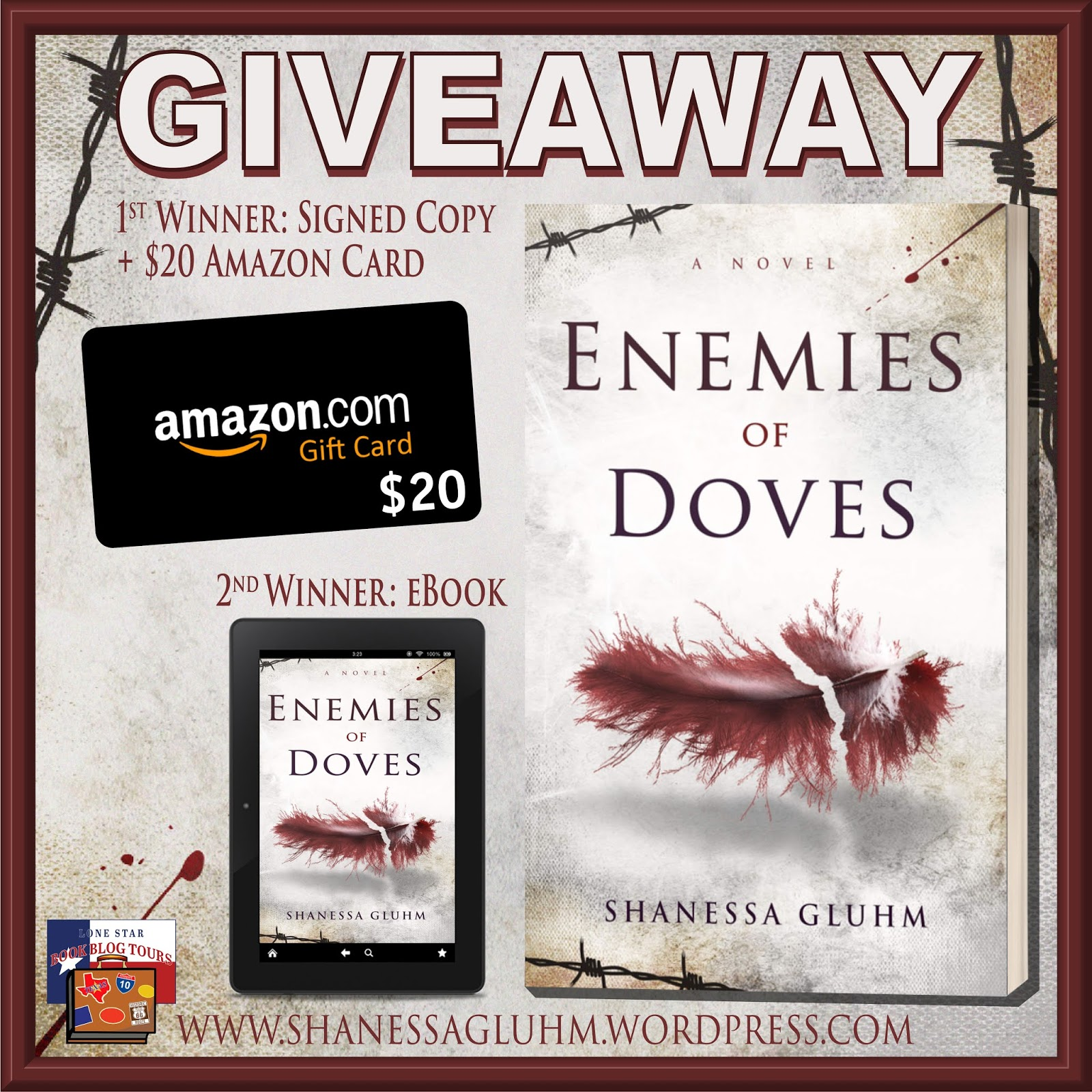 Enemies of Doves tour giveaway graphic. Prizes to be awarded precede this image in the post text.
