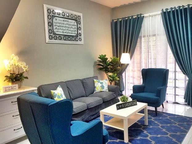 Ruang Tamu rumah minimalis type 45 dengan sofa dan meja minimalis modern