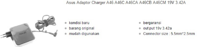 harga charger laptop asus a46 series original
