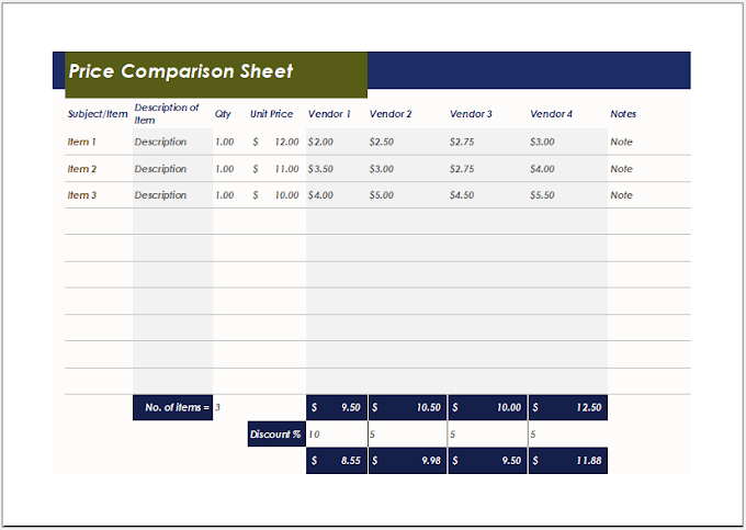 Price Comparison Sheet Template for Excel XLS Free Download