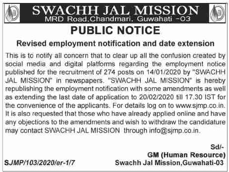 Revised employment notification and date extension