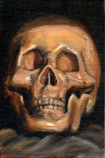 Oil painting of a plastic skull resting on a grey cloth.