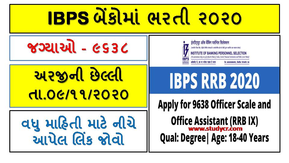 IBPS CRP RRBs IX Recruitment 2020 For 9638 Posts (Re-Open):