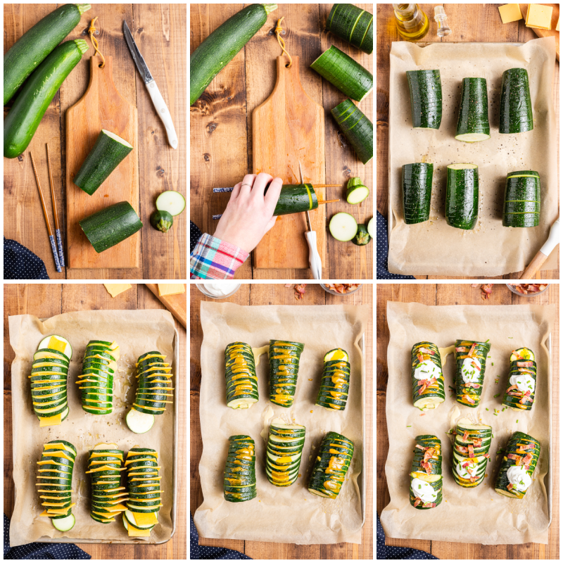 Six photos of the process of making Hasselback Zucchini.