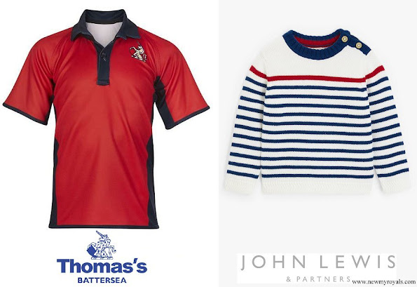 Prince George wore a rugby shirt from Thomas Battersea, Prince Louis wore an organic cotton stripe jumper from John Lewis and Partners