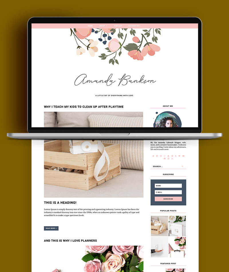 blog post preview of Amanda bankson blogger theme