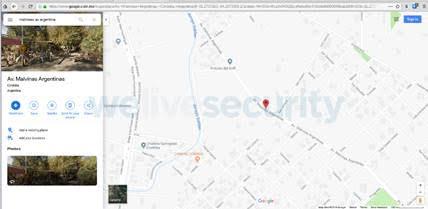 Ubicación en Google Maps donde supuestamente se encuentra el dispositivo robado
