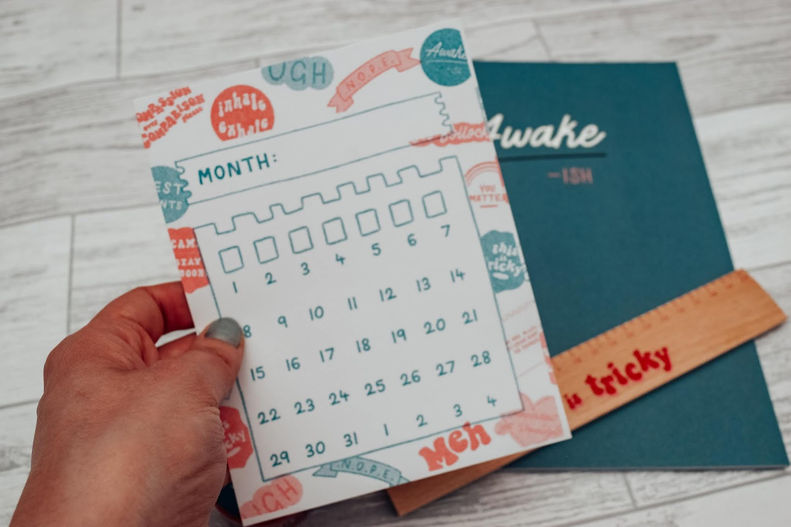 A blank calendar postcard