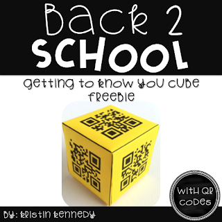 FREE Back to School Getting to Know You QR Code Cube: Fun ice breaker activity for the first days of school. Students ask each other questions after scanning the QR codes. Easy and engaging way to integrate technology and in the elementary classroom. Find this and tons of other freebies, ideas and activities for using QR codes in the classroom here.