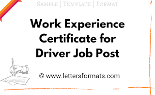 work experience certificate format for driver