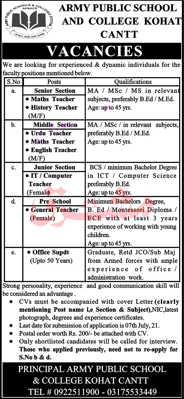 Latest Jobs in Army Public School  and College System APSC 2021