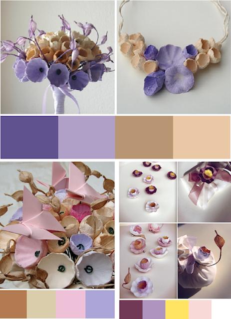 Tendenze colore  matrimonio ecologico 2018 in Viola e lilla , bouquet di carta Roma