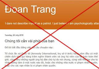 """Dân chủ mặt mụn Phạm Đoan Trang muốn hâm nóng cho cái gọi là """"Chiến dịch viết thư cho tù nhân lương tâm"""""""