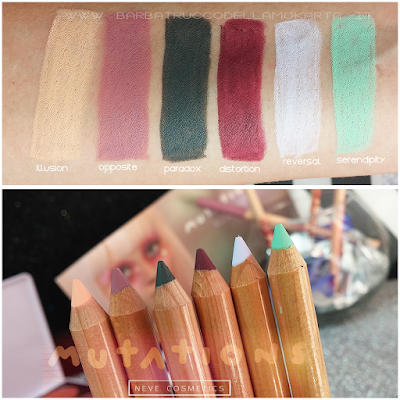 swatches Review BioPastello occhi - Collezione Mutations - Neve cosmetics