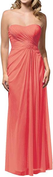 Beautiful Peach Chiffon Bridesmaid Dresses